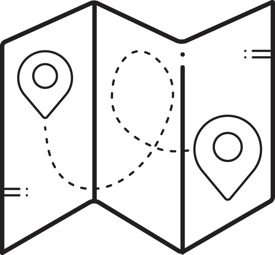linjeikon för kartor vektor