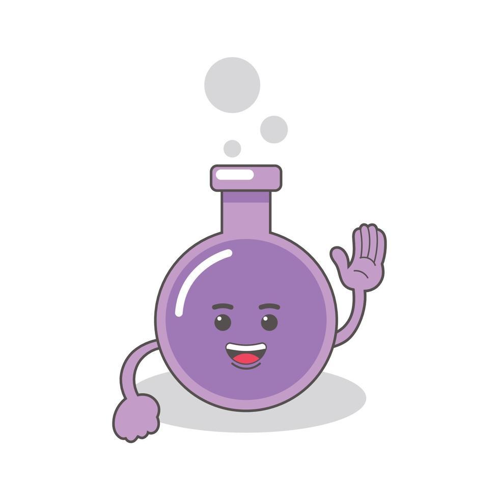 lila kemisk flaska med ansikten vektorbild vektor