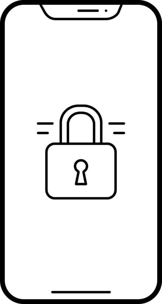 linje ikon för låst telefon vektor