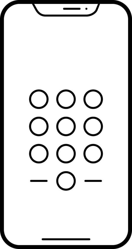 linjeikon för telefonens lösenord vektor