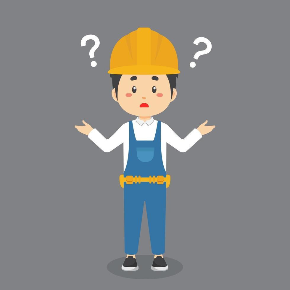 byggnadsarbetare förvirrad med frågetecken vektor