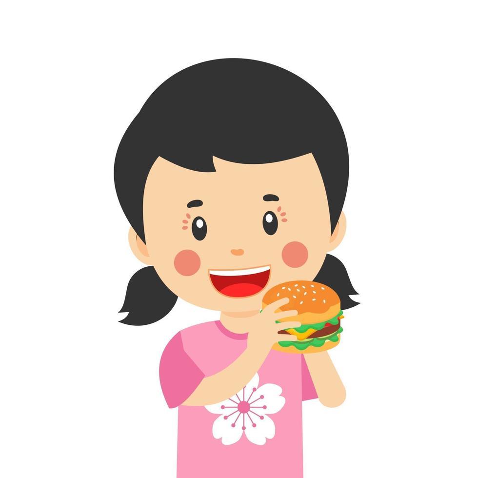 glad söt unge äta hamburgare vektor