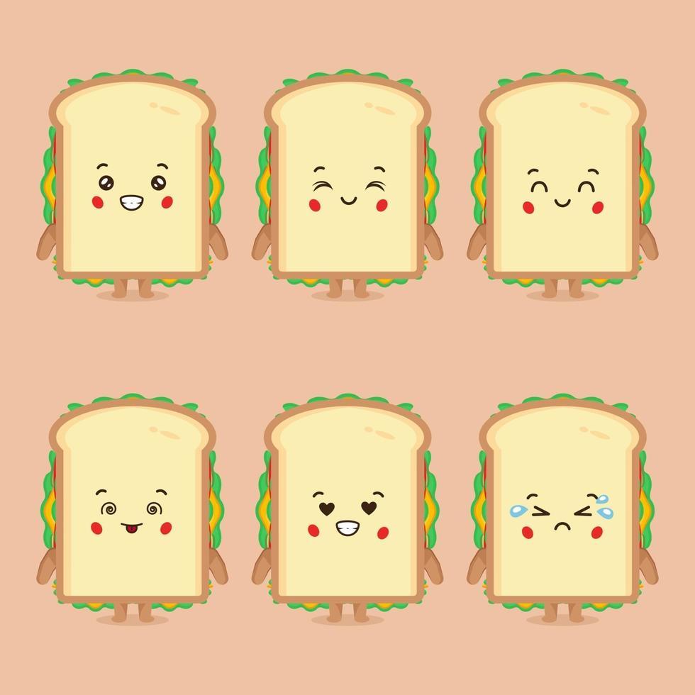 söt smörgås karaktär med uttryck vektor
