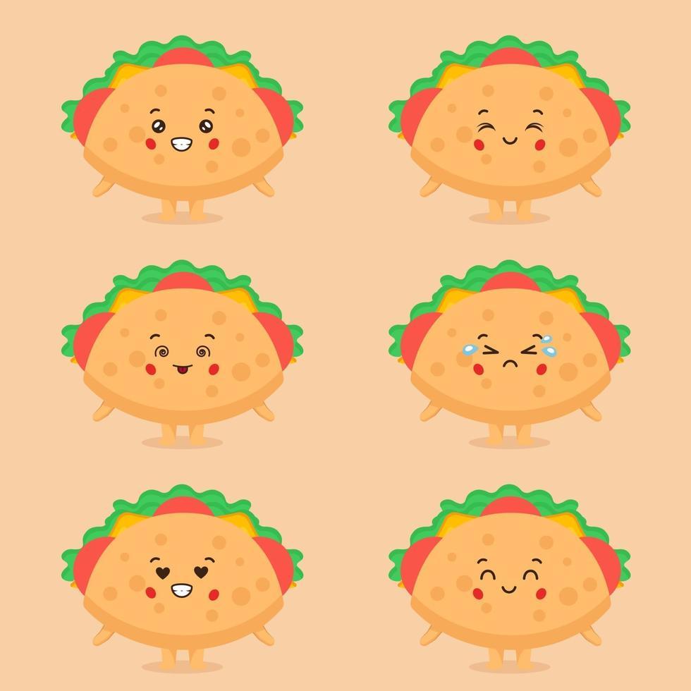söt taco karaktär med uttryck vektor