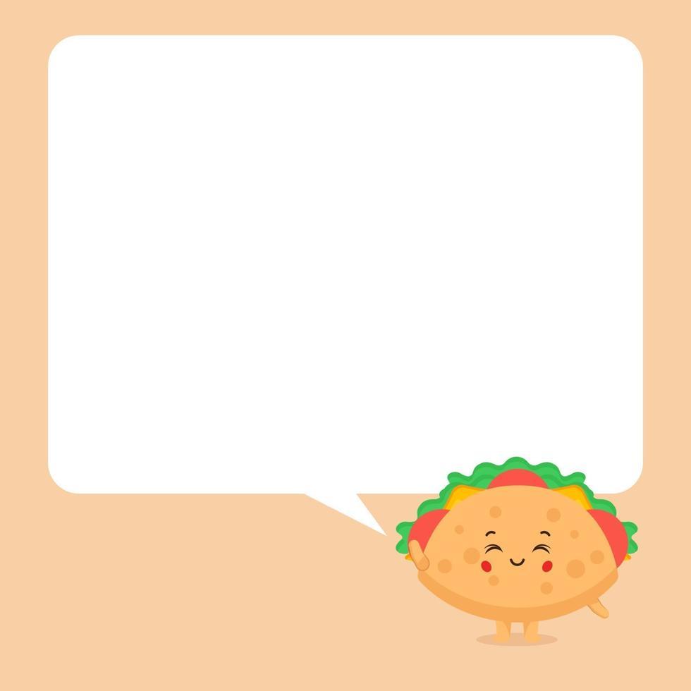 söt taco karaktär med pratbubblor vektor
