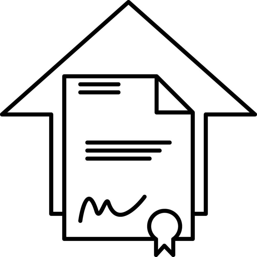 linje ikon för juridiskt papper vektor