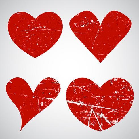 Grunge Alla hjärtans dag hjärtan vektor