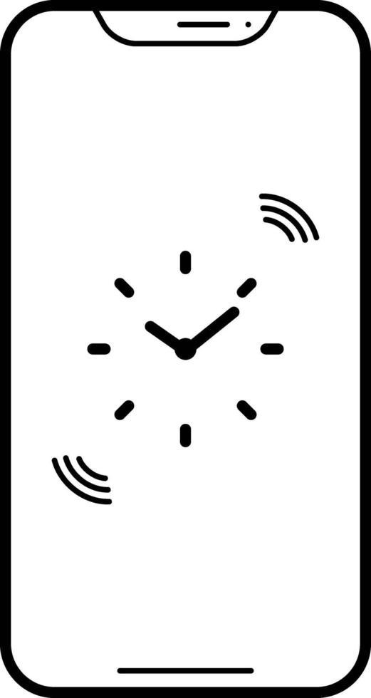 linjeikon för telefonpåminnelser vektor