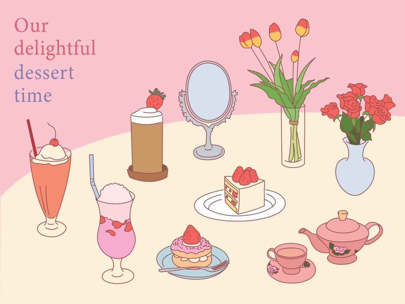 romantiska jordgubbsdesserter på bordet. handritade stilvektordesignillustrationer. vektor