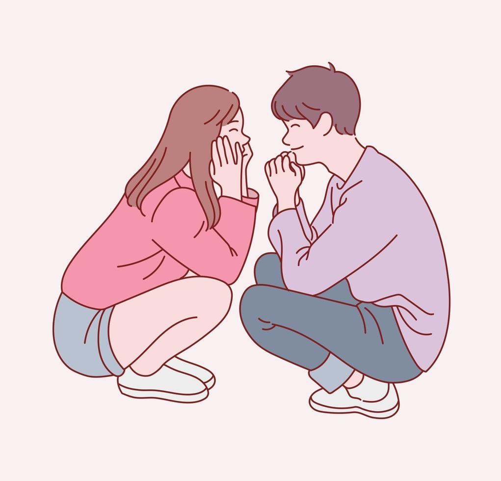 Ein süßes Paar sitzt in einer freundlichen Pose. Hand gezeichnete Art Vektor-Design-Illustrationen. vektor