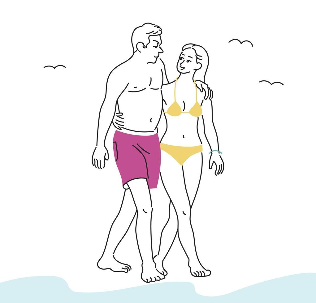 ett par i baddräkter går på stranden. handritade stilvektordesignillustrationer. vektor