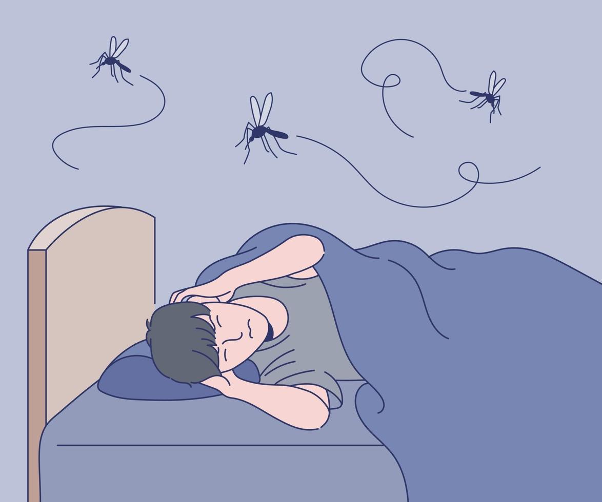 en man kan inte sova vid ljudet av myggor. handritade stilvektordesignillustrationer. vektor