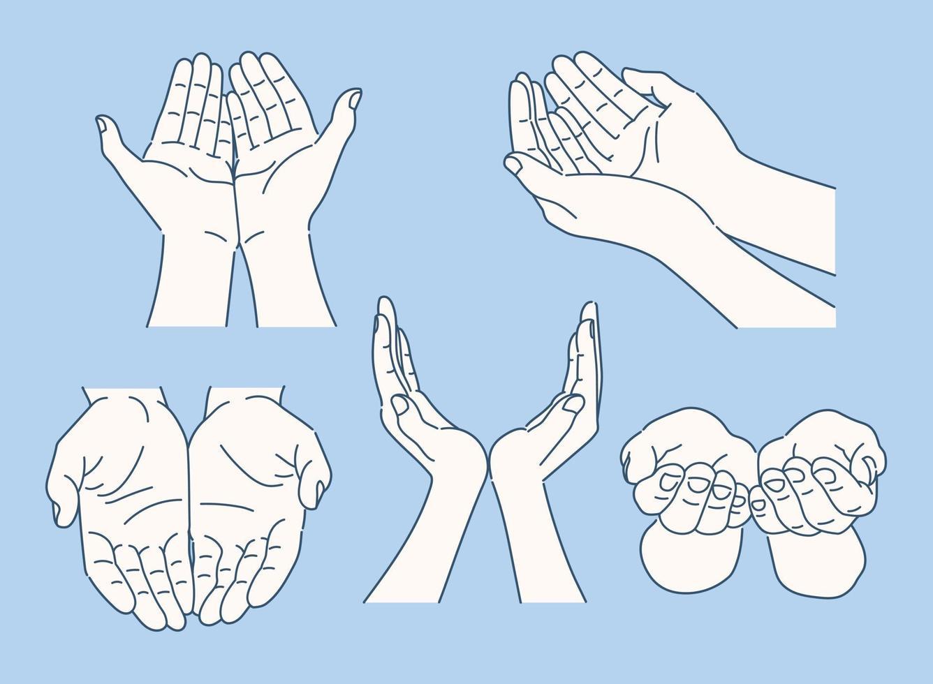 samling av olika handgester. handritade stilvektordesignillustrationer. vektor