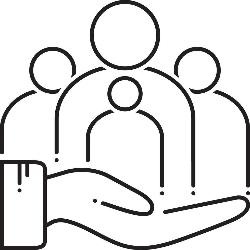 linje ikon för familjevård vektor