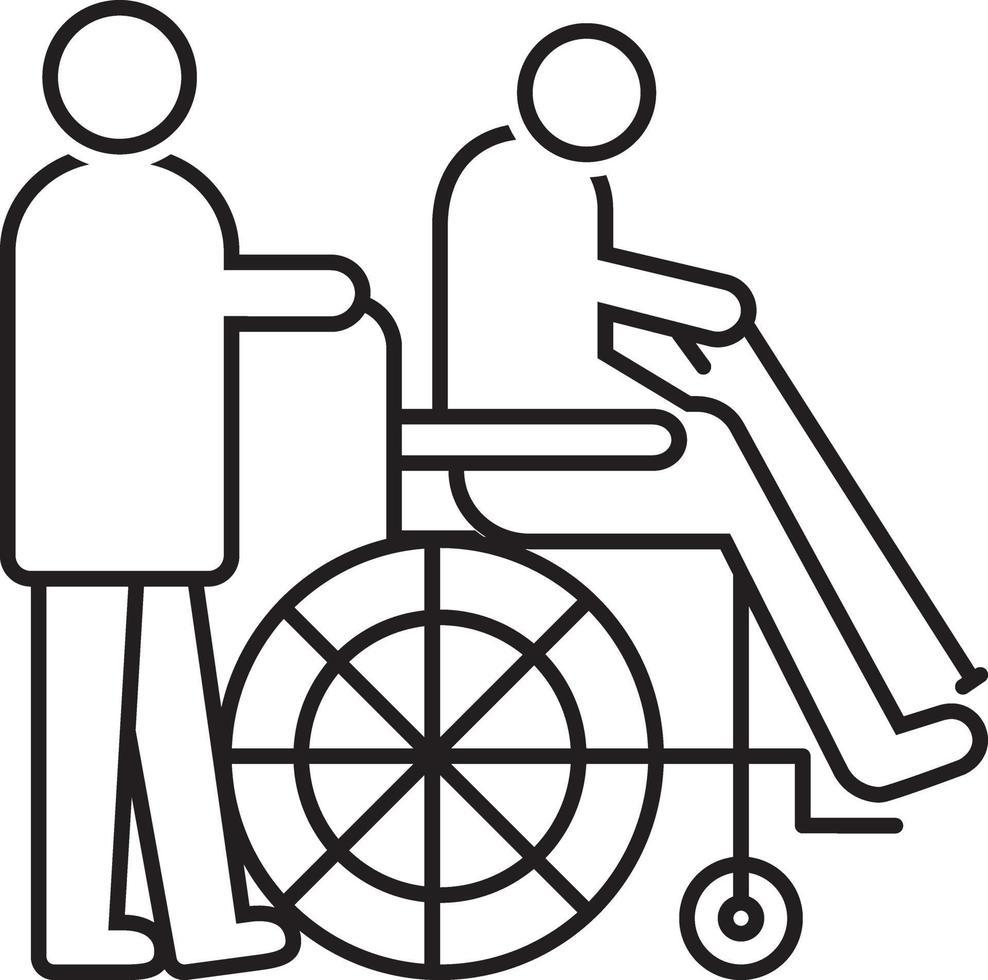 linje ikon för geriatrik vektor
