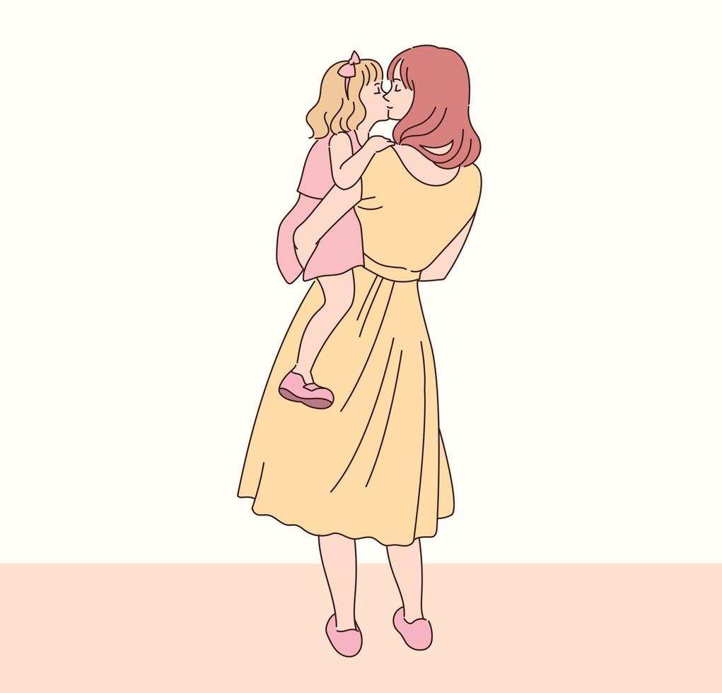 mamman kramar sin dotter ömt. handritade stilvektordesignillustrationer. vektor