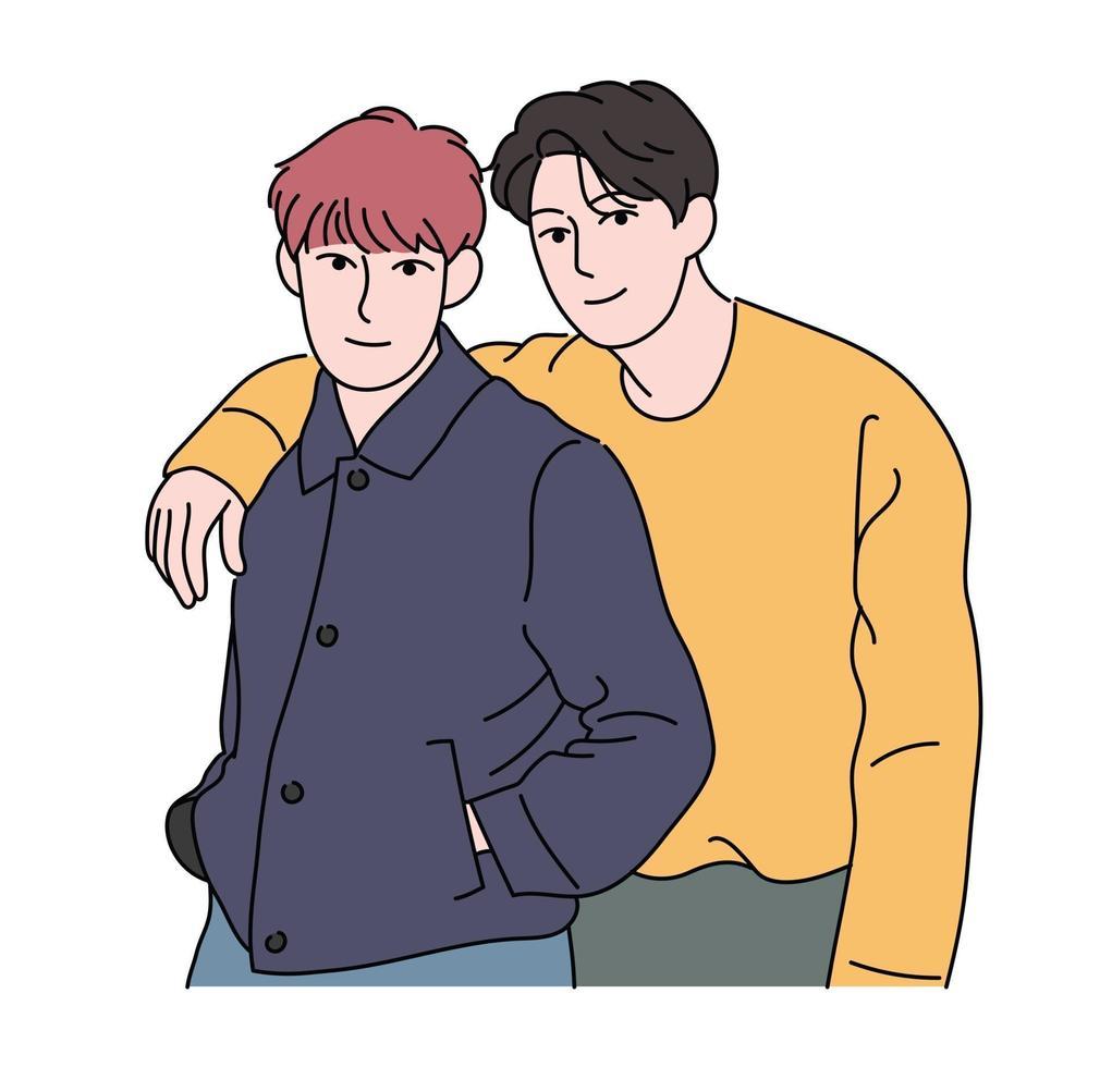 två pojkar poserar kärleksfullt. handritade stilvektordesignillustrationer. vektor