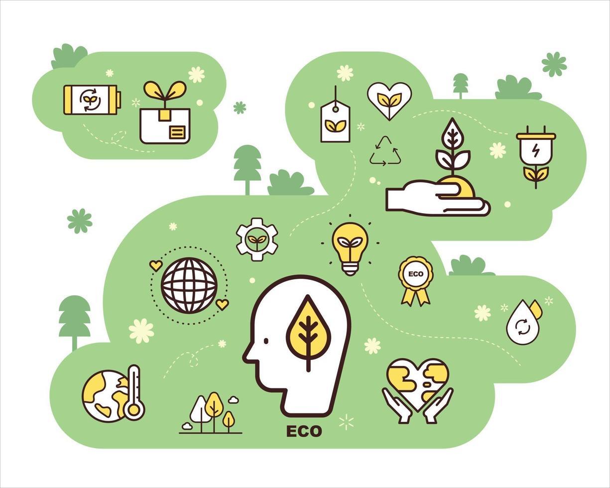 eco ikoner sammansättning. platt designstil minimal vektorillustration. vektor