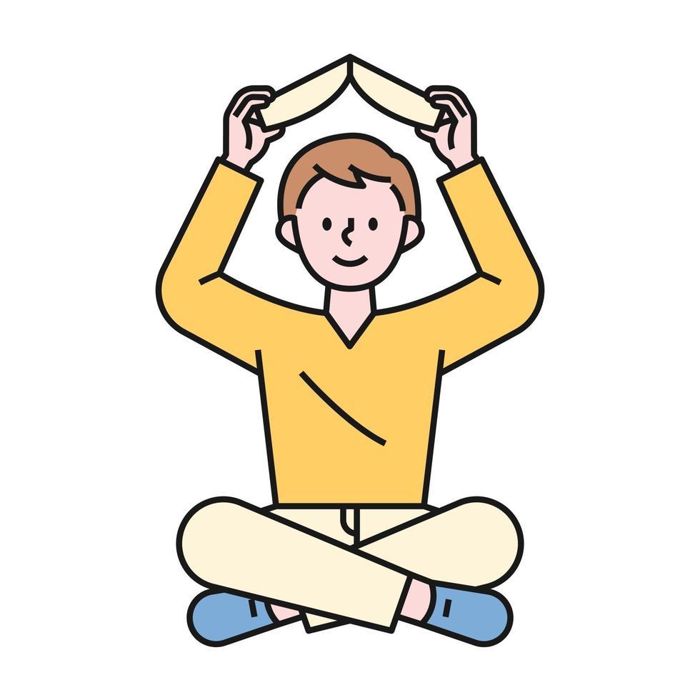 en pojke som sitter på golvet och håller en bok ovanför huvudet. platt designstil minimal vektorillustration. vektor