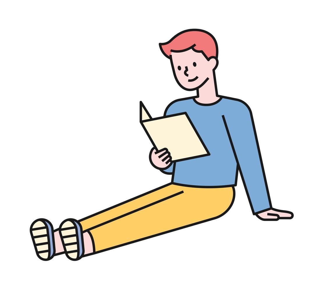 en pojke läser en bok som sitter med benen sträckta på golvet. platt designstil minimal vektorillustration. vektor