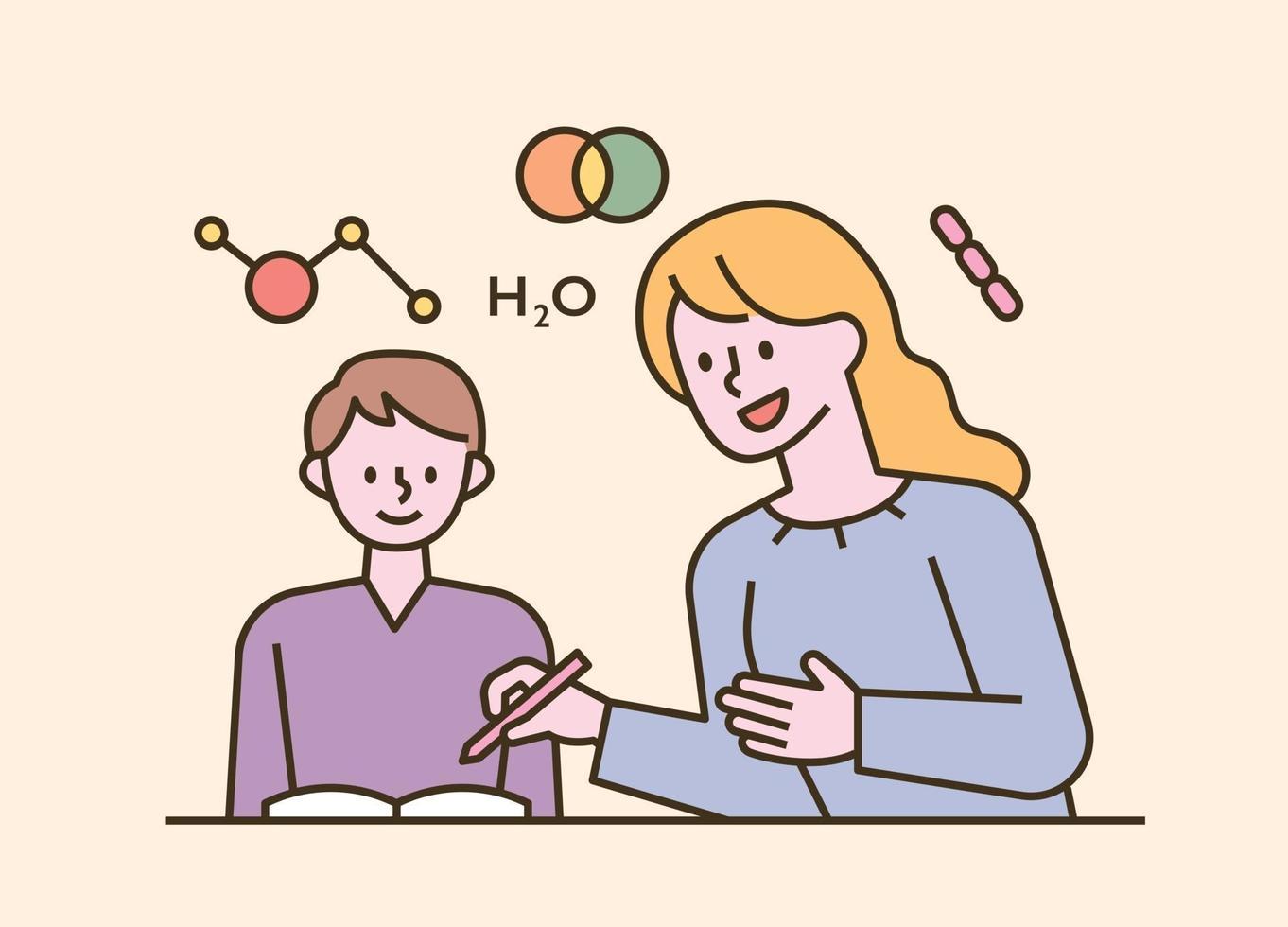 barn som sitter vid deras skrivbord och hemundervisning. platt designstil minimal vektorillustration. vektor