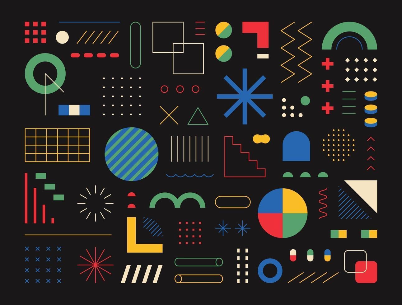 retrostil design bestående av olika former och mönster. svart bakgrund. enkel mönster formgivningsmall. vektor