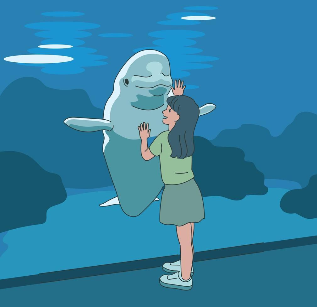 en flicka hälsar en delfin i akvariet. handritade stilvektordesignillustrationer. vektor