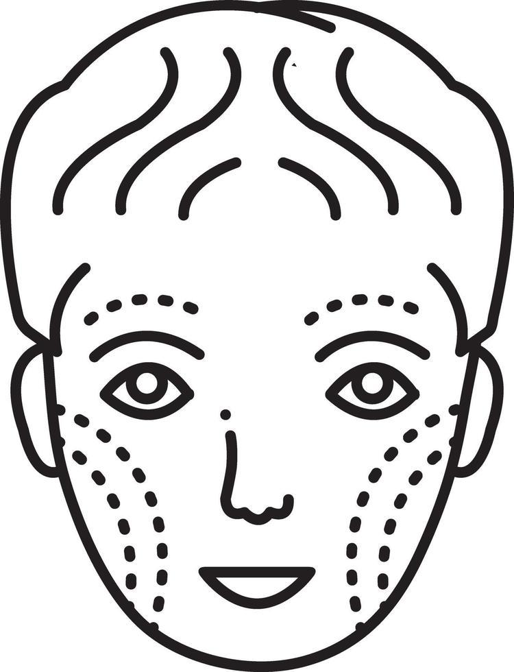 linje ikon för plastikkirurgi i ansiktet vektor