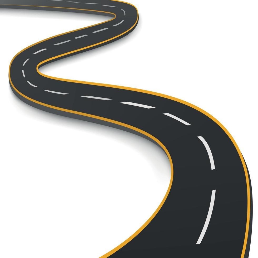realistisk slingrande motorväg som sträcker sig in i horisonten - vektor