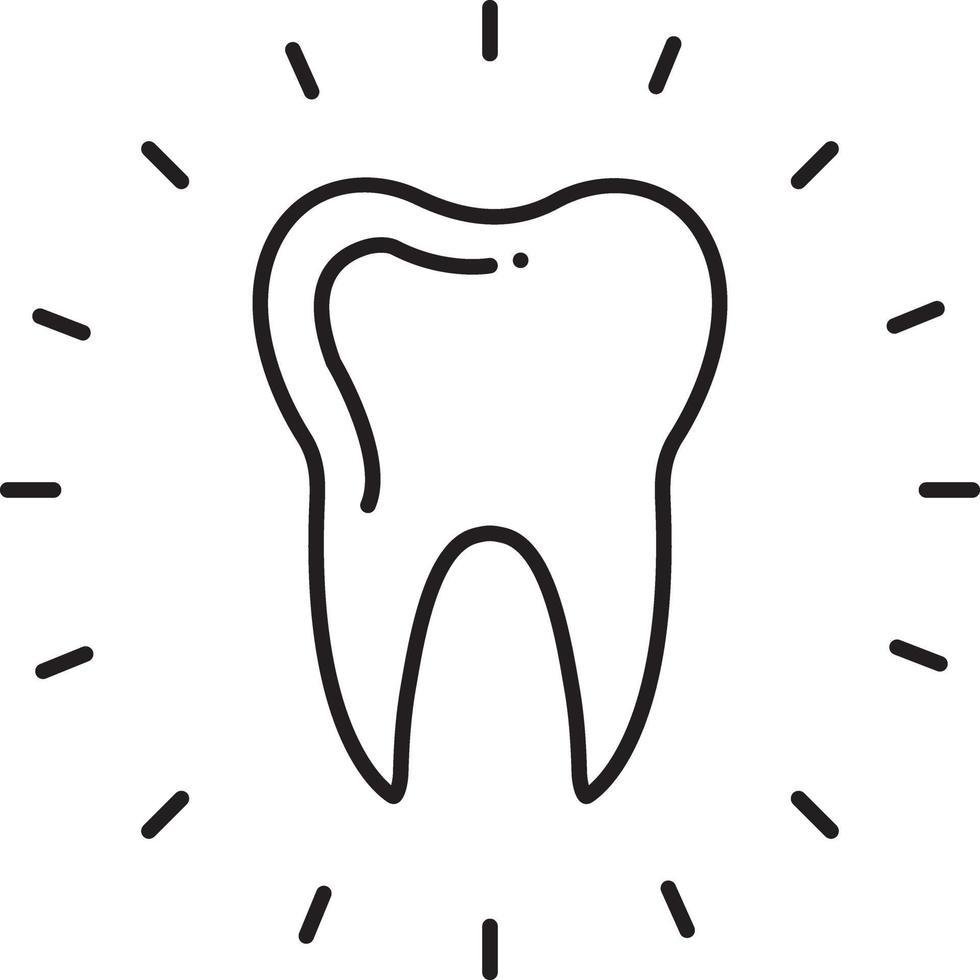 linje ikon för tandvård vektor