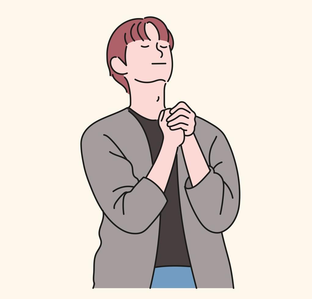 en man ber med händerna tillsammans. handritade stilvektordesignillustrationer. vektor
