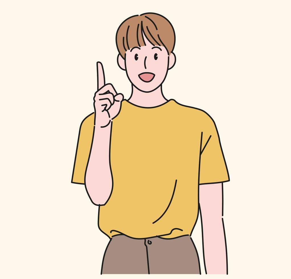 en pojke pekar uppåt och pratar. handritade stilvektordesignillustrationer. vektor