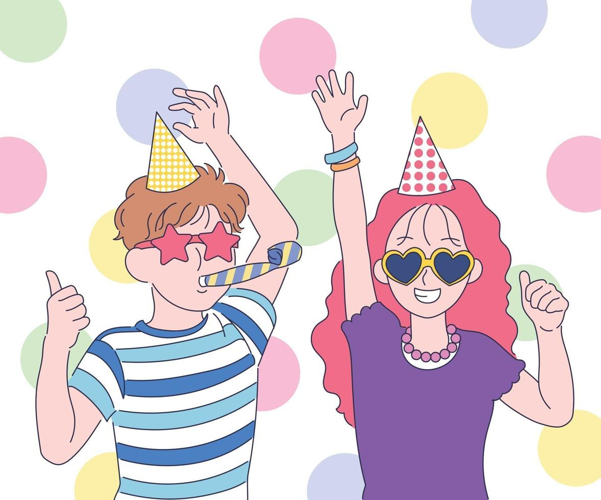 ett sött par håller en fest med roliga solglasögon. handritade stilvektordesignillustrationer. vektor