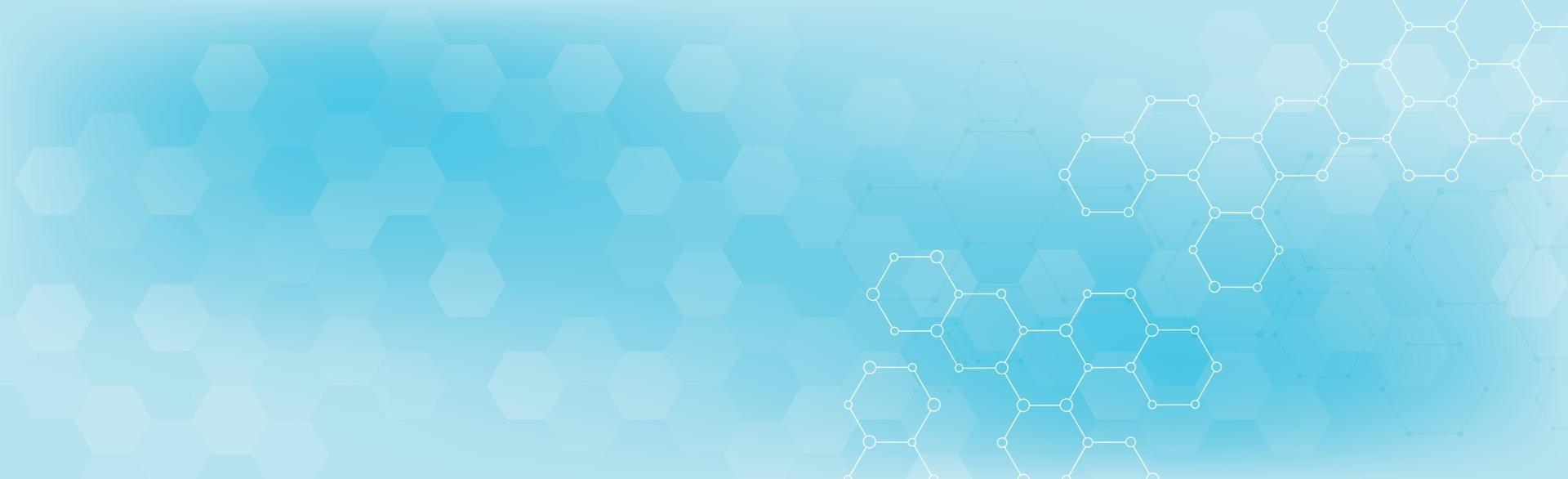 hexagoner av olika storlekar på en blå bakgrund - vektor