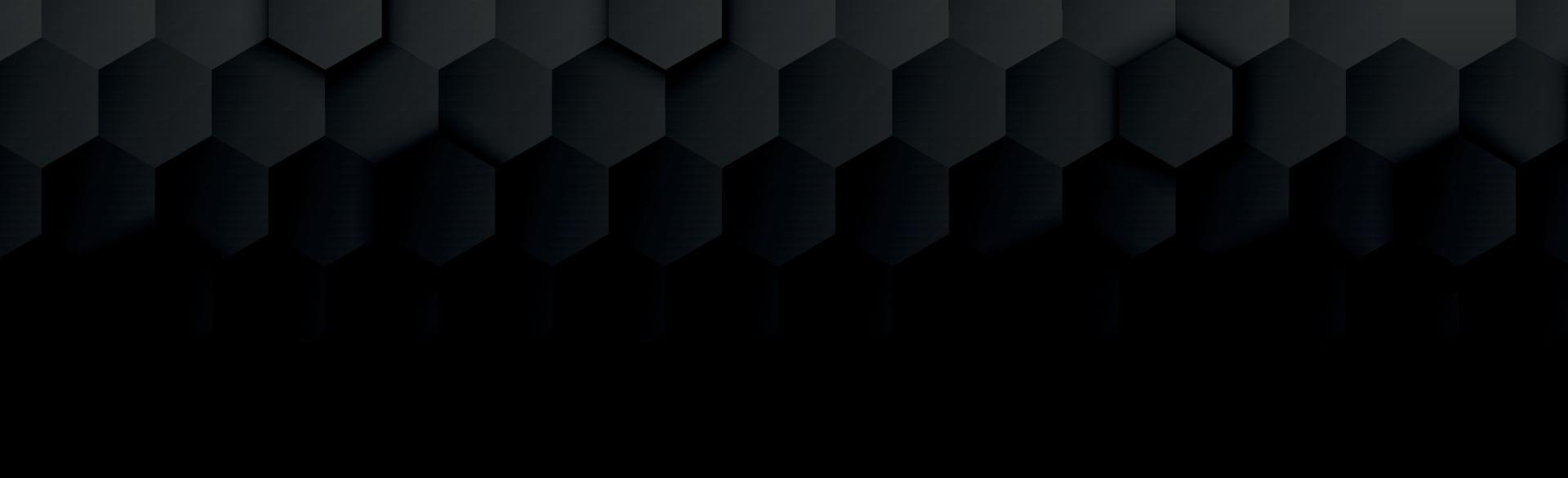 abstrakte schwarze Sechsecke auf dunklem Panoramahintergrund vektor