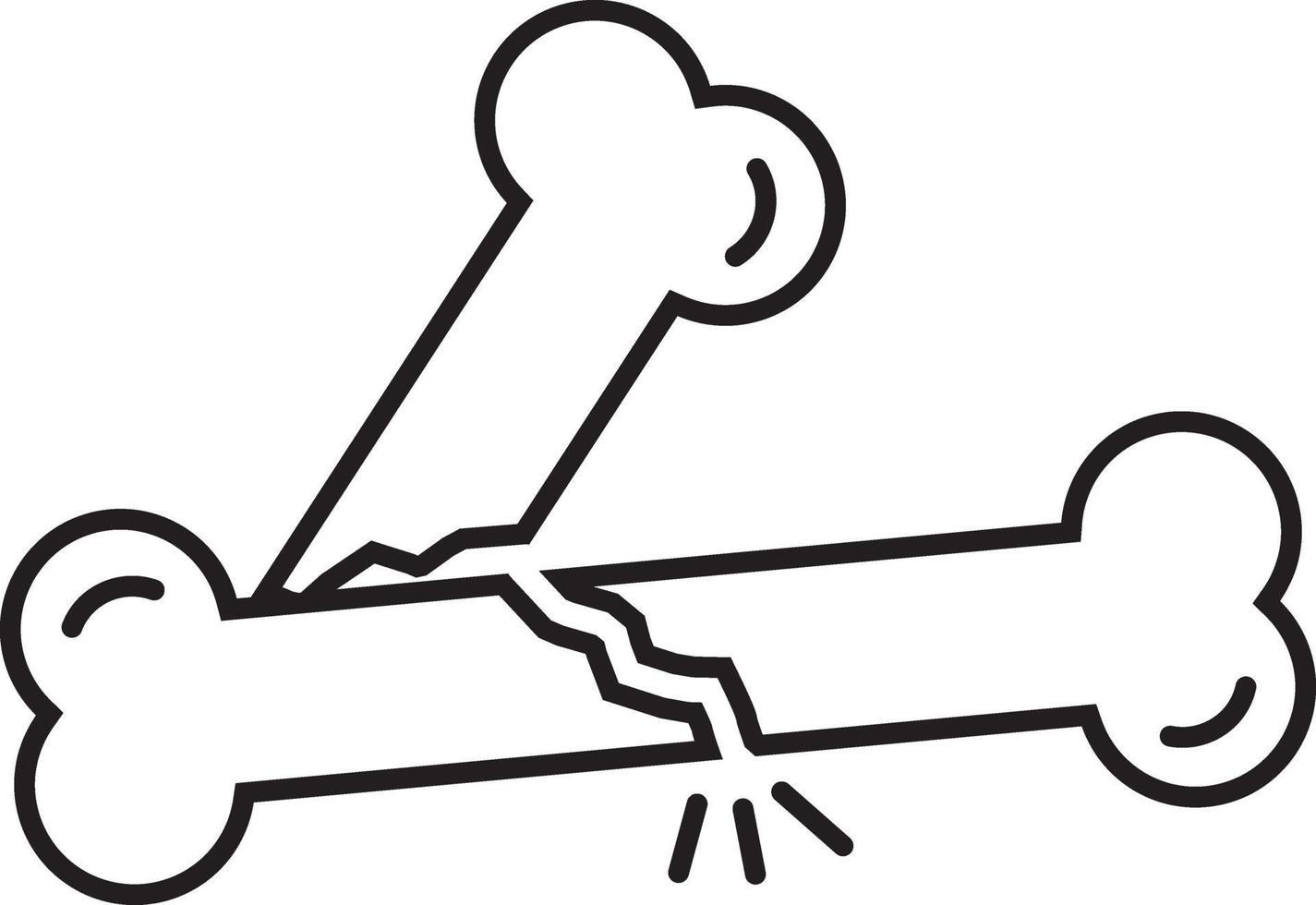 linje ikon för brutet ben vektor