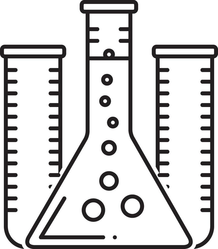 linjeikon för provrör vektor