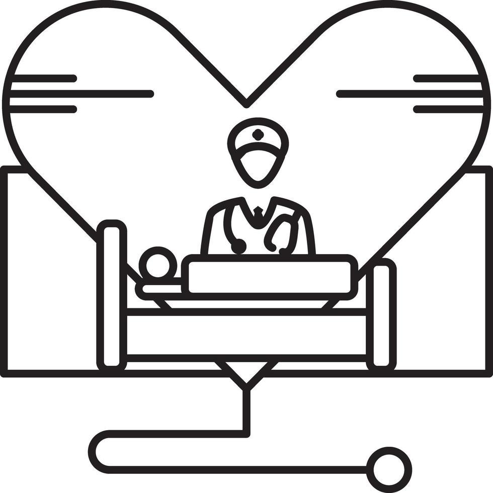 linje ikon för vård vektor