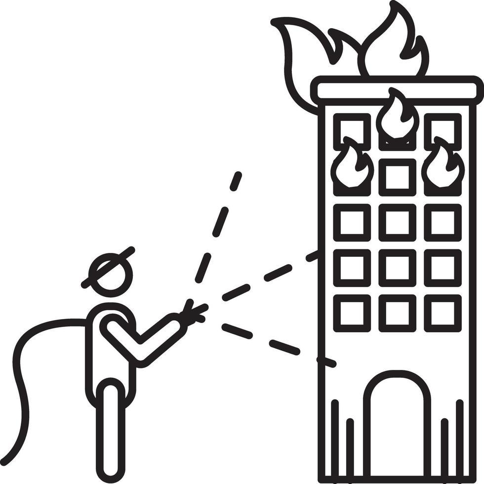 linje ikon för brandkåren vektor