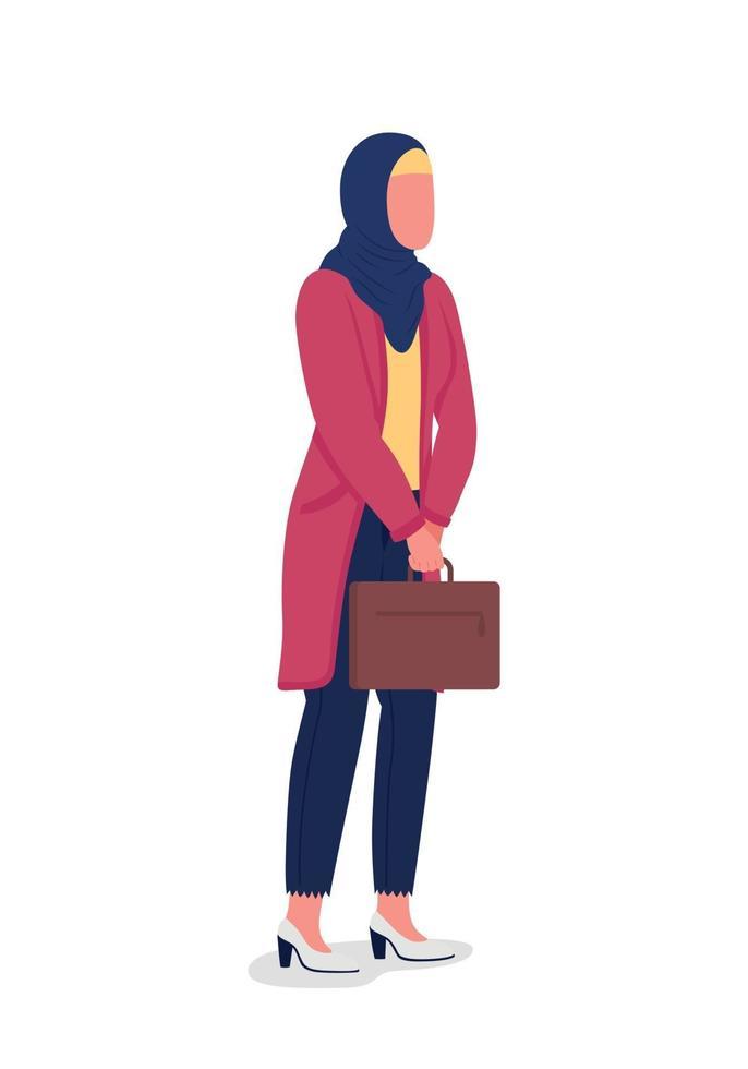 muslimsk affärskvinna platt färg vektor ansiktslös karaktär