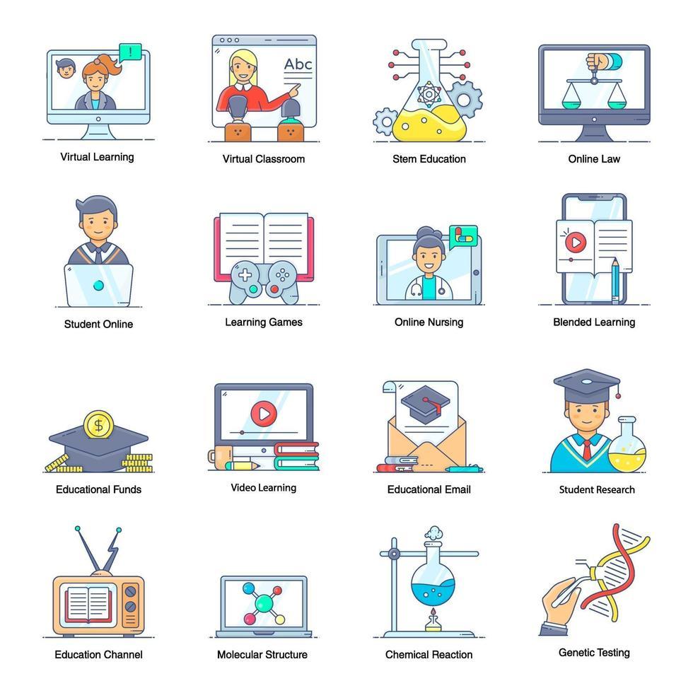 e-lärande och virtuellt lärande vektor