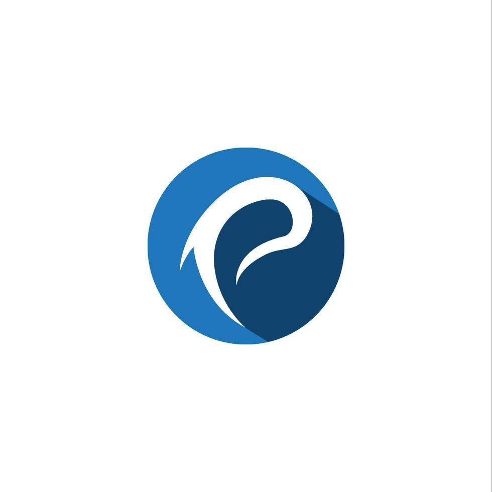 p logotyp och fisksymboler vektor