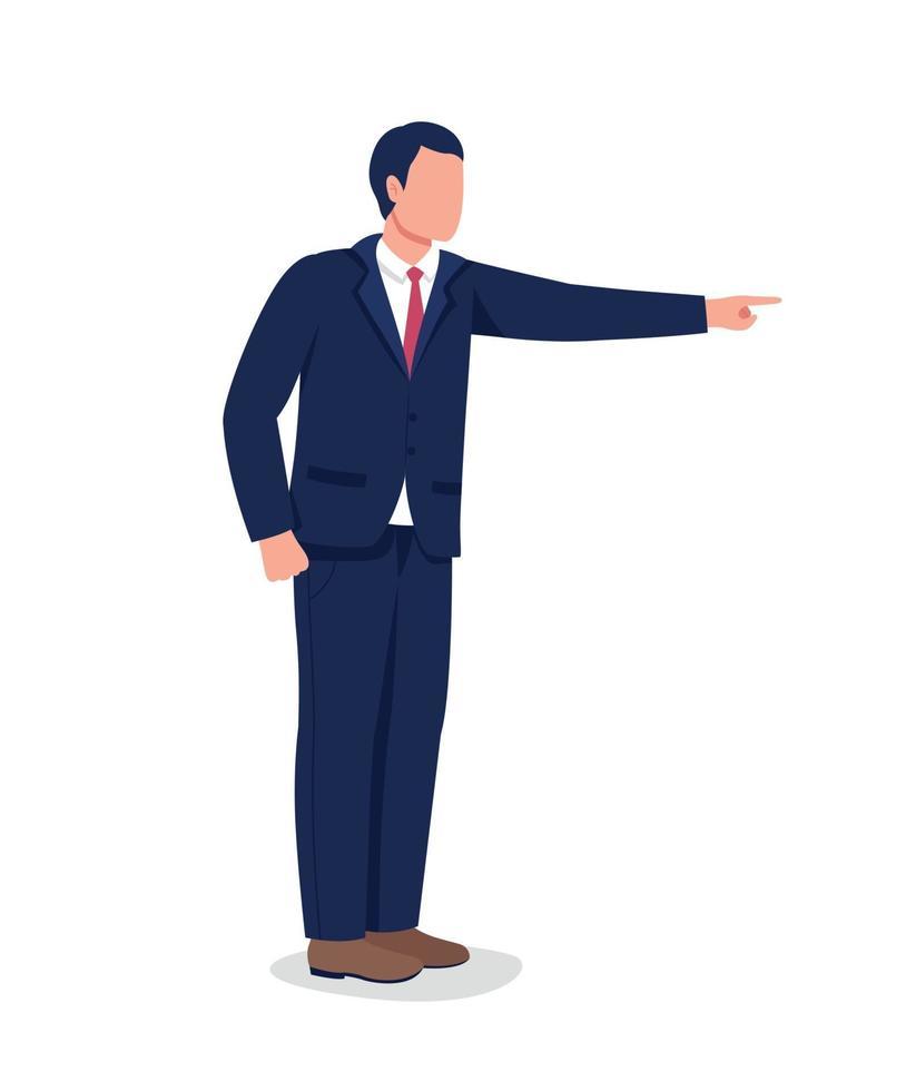 chef pekande finger platt färg vektor ansiktslös karaktär