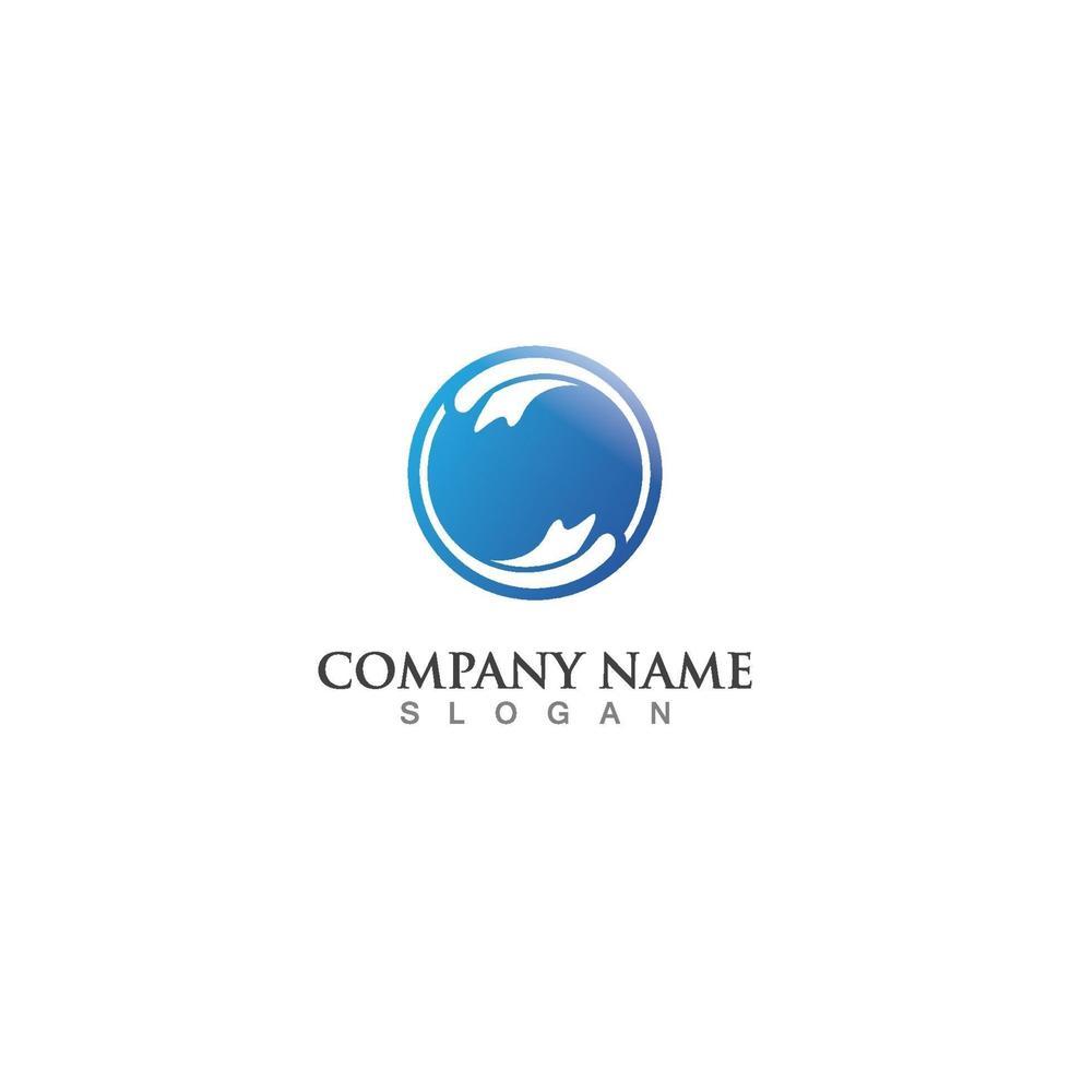 vattenvåg ikon logotyp mall vektor