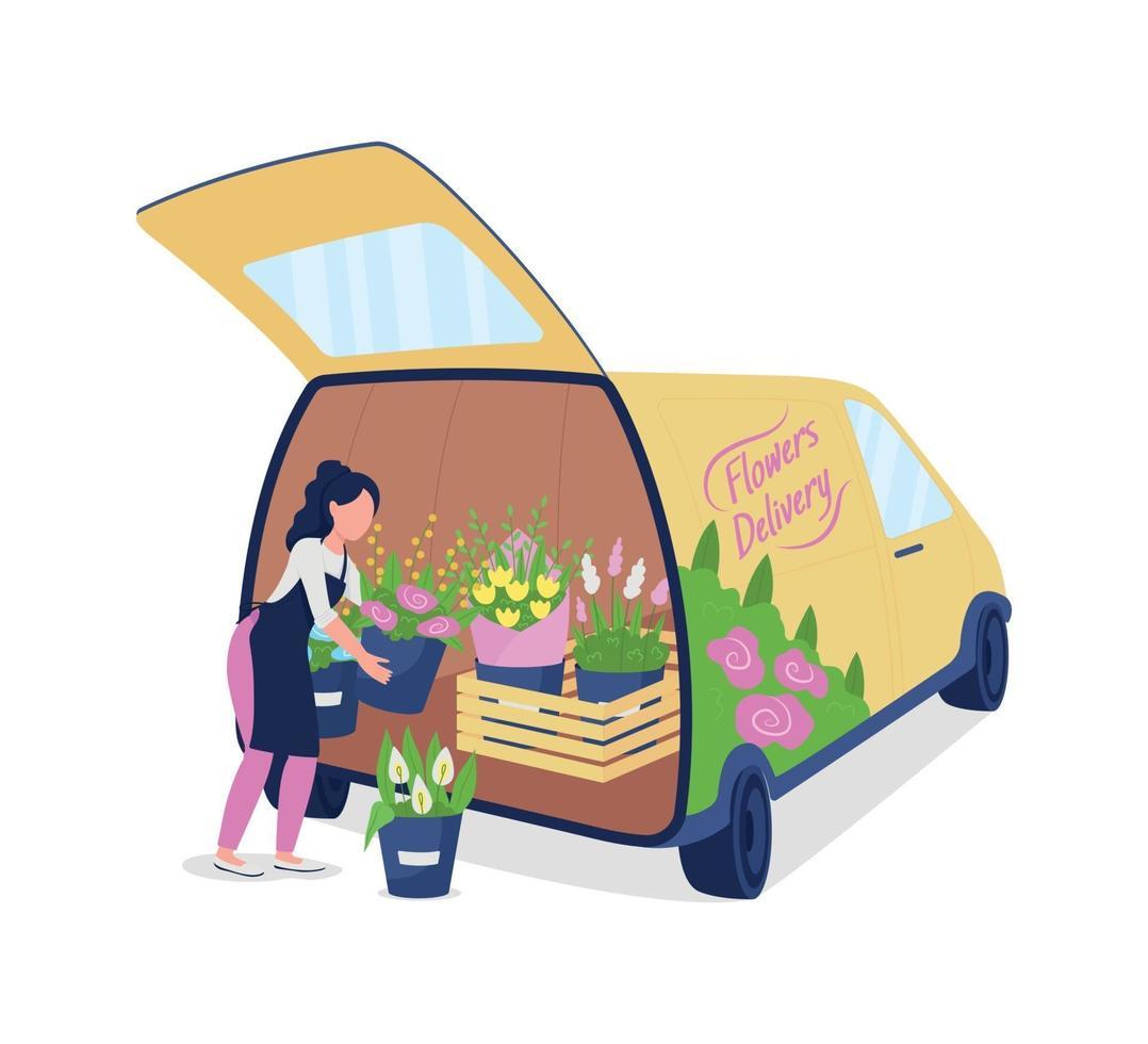 kvinnlig blomsterhandlare lossar bil med blommor platt färg vektor ansiktslös karaktär