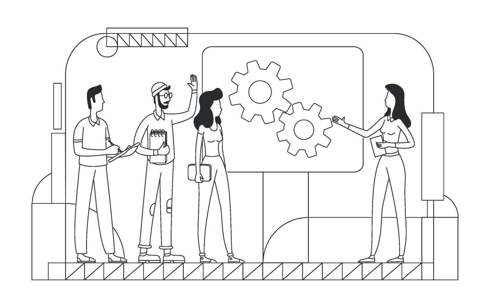 företags brainstorming tunn linje vektorillustration. professionella team disposition tecken på vit bakgrund. affärsprojektutveckling, idégenerering, lagarbete enkel stilritning vektor