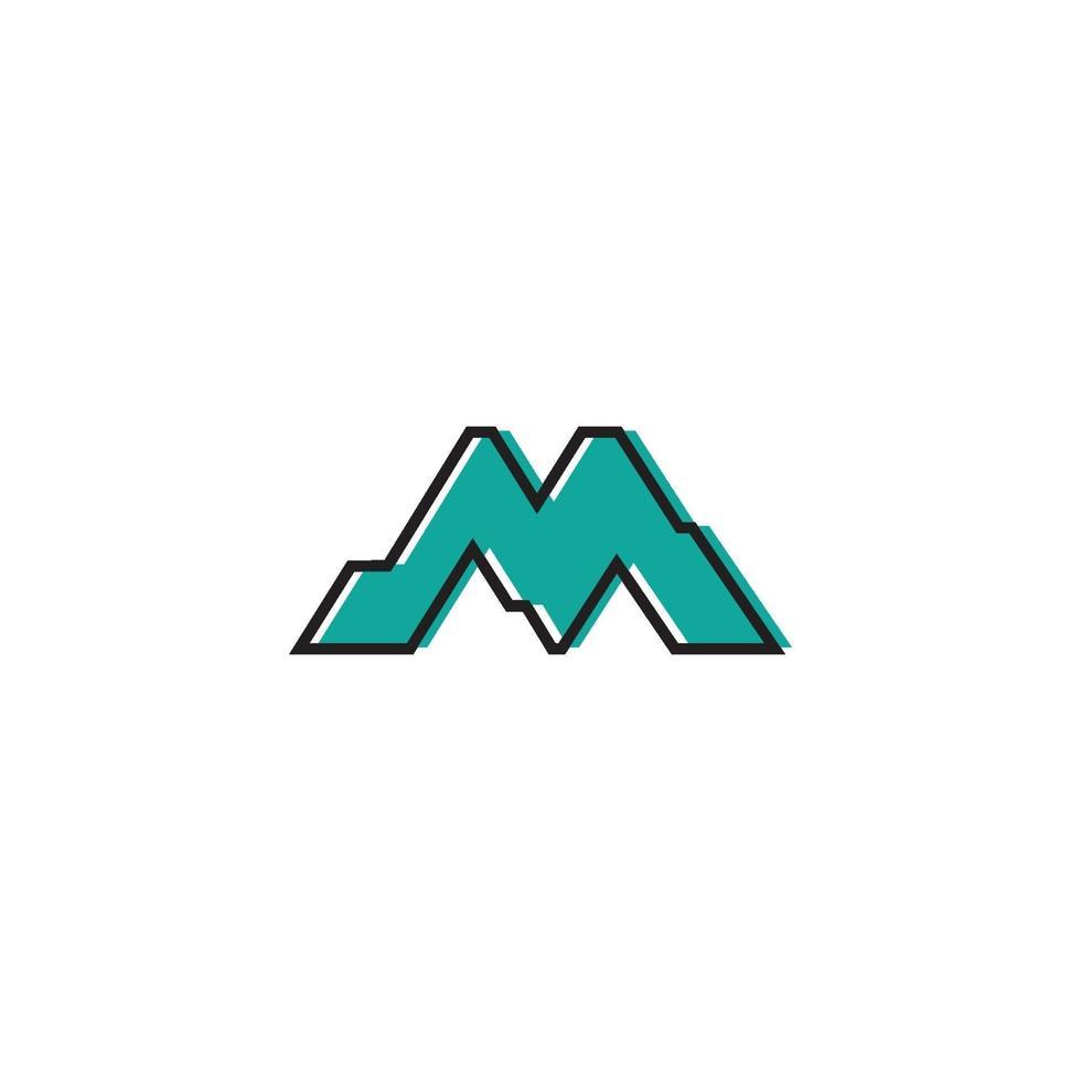 m brev berg logotyp ikon vektor
