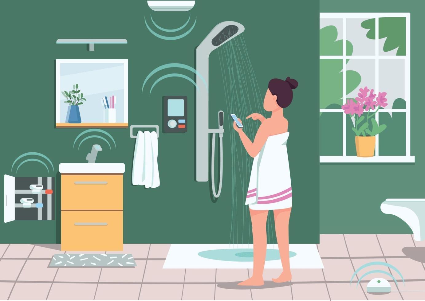 smarta badrumsapparater platt färg vektorillustration. flicka kontrollerar dusch med smartphone. iot i hemmet. kvinna som använder mobiltelefon 2d seriefigur med badrum på bakgrunden vektor