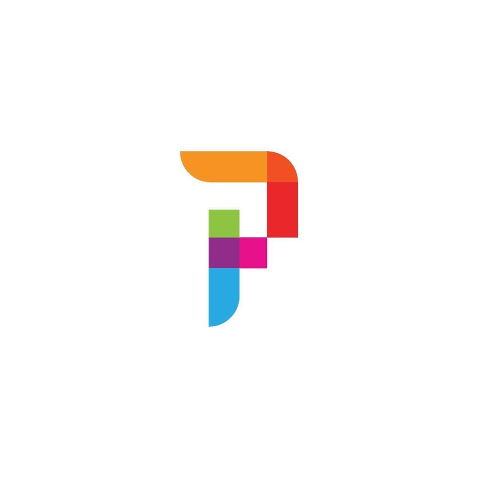 p brev logotyp affärsmall vektor ikon