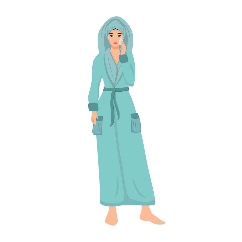 kvinna i badrock med ansikts toner platt färg vektor ansiktslös karaktär. flicka rengöring hud isolerad tecknad illustration för webb grafisk design och animering. kvinnlig hudvård rutin steg